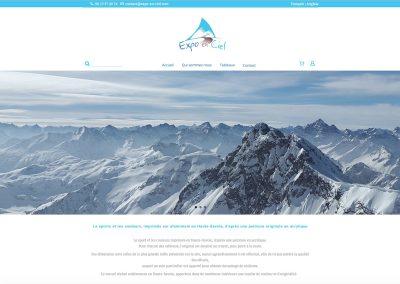 Page d'accueil du site e-commerce Expo En Ciel